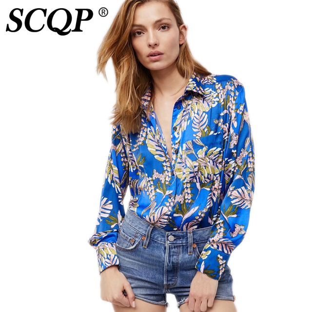 127c973bc96 US $25.24  SCQP Hit Color Printed Ladies Satin Blouse Long Sleeve Casual  Spring Womens Tops And Blouses Femme Fashion Floral Shirt Women-in Blouses  & ...