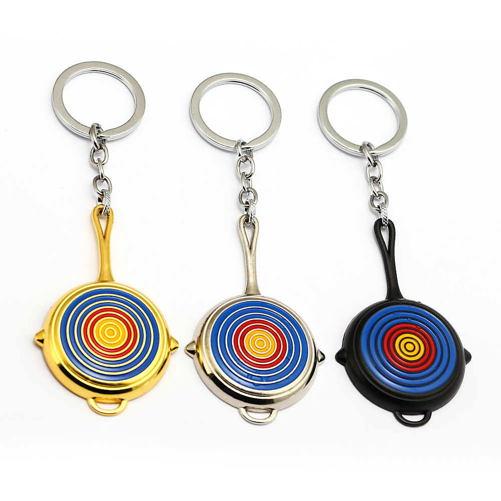 New arrival keychain 8cm Tri-color game Jedi survived new skin bulls eye pan keychain pendants PUBG cute