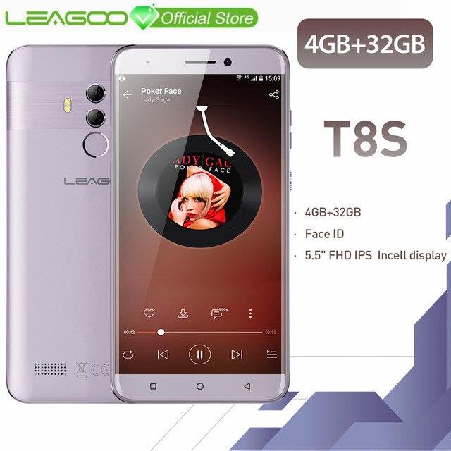LEAGOO T8s мобильного телефона Android 8,1 5,5 ''FHD 16:9 1920*1080 4 GB Оперативная память 32 ГБ Встроенная память MT6750T Восьмиядерный Face ID 13MP 4G смартфон
