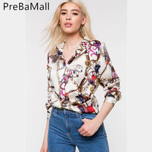 New Trender Fashion Women Chain Printed Vintage Blouse Shirts Female Vogue High Street Criss-cross Long Sleeve Blouses Tops C242 criss cross front two tone blouse