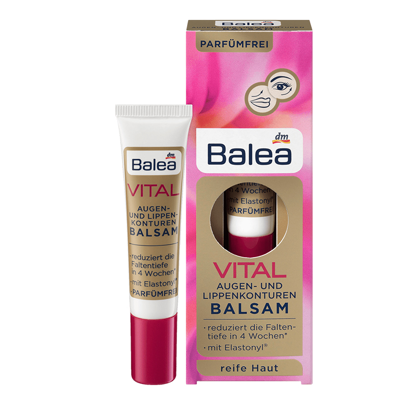 Balea Vital Baobab Extract Eyes Lips Serum Hyaluronic Acid Eye Cream for Mature Skin 40 Years Dark circles Fine Wrinkles Lines