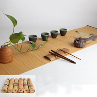 35x 180cm Artistical Painted Natural Bamboo Zen Tea Table Runner with Protected Border Tea Mat Home Decoration Table Flag