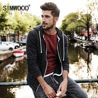 SIMWOOD 2018 Spring New Hoodies Jacket Men Casual Zipper Sweatshirts Kangaroo Pocket Slim Fit Plus Size