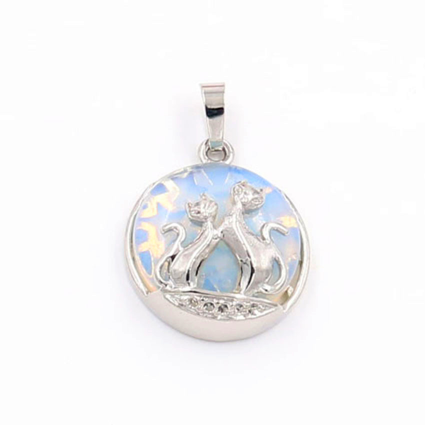 FYJS Unique Animal Jewelry Silver Plated Couple Lovely Fox with Opalite Opal Round Bead Pendant