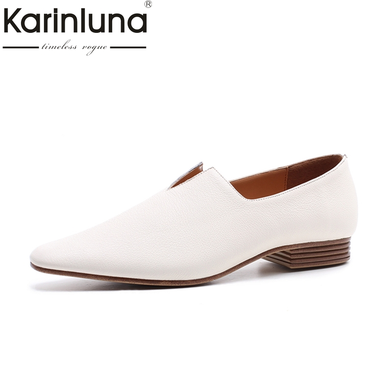 KARINLUNA genuine leather Size 34-40 kid suede square Toe slip on black Shoes Woman Sexy Silver mid Heels Party Wedding Pumps цена