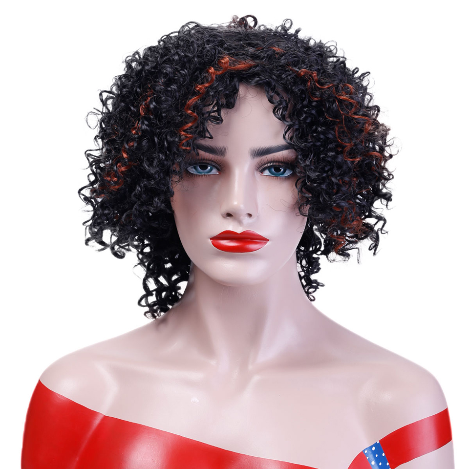 Allaosify Short Curly Wigs Two Colors Natural Synthetic Hair Women Heat Resistant Cosplay Fun Wigs American African Wigs In Synthetic None Lace Wigs From