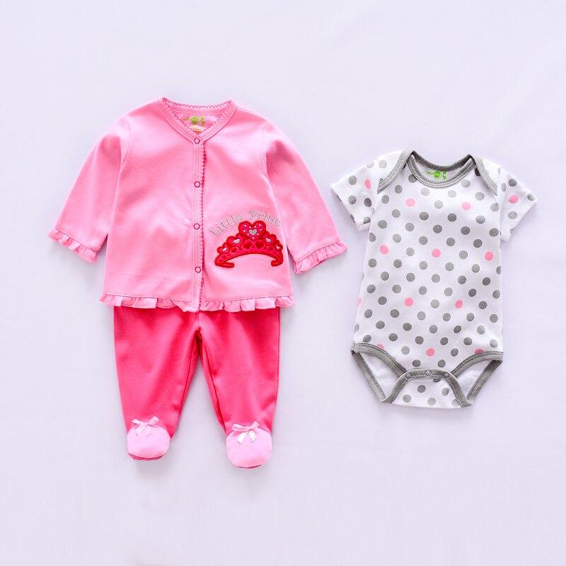 Комплект хлопковой одежды для новорожденных, с длинным рукавом, штанами и комбинезоном