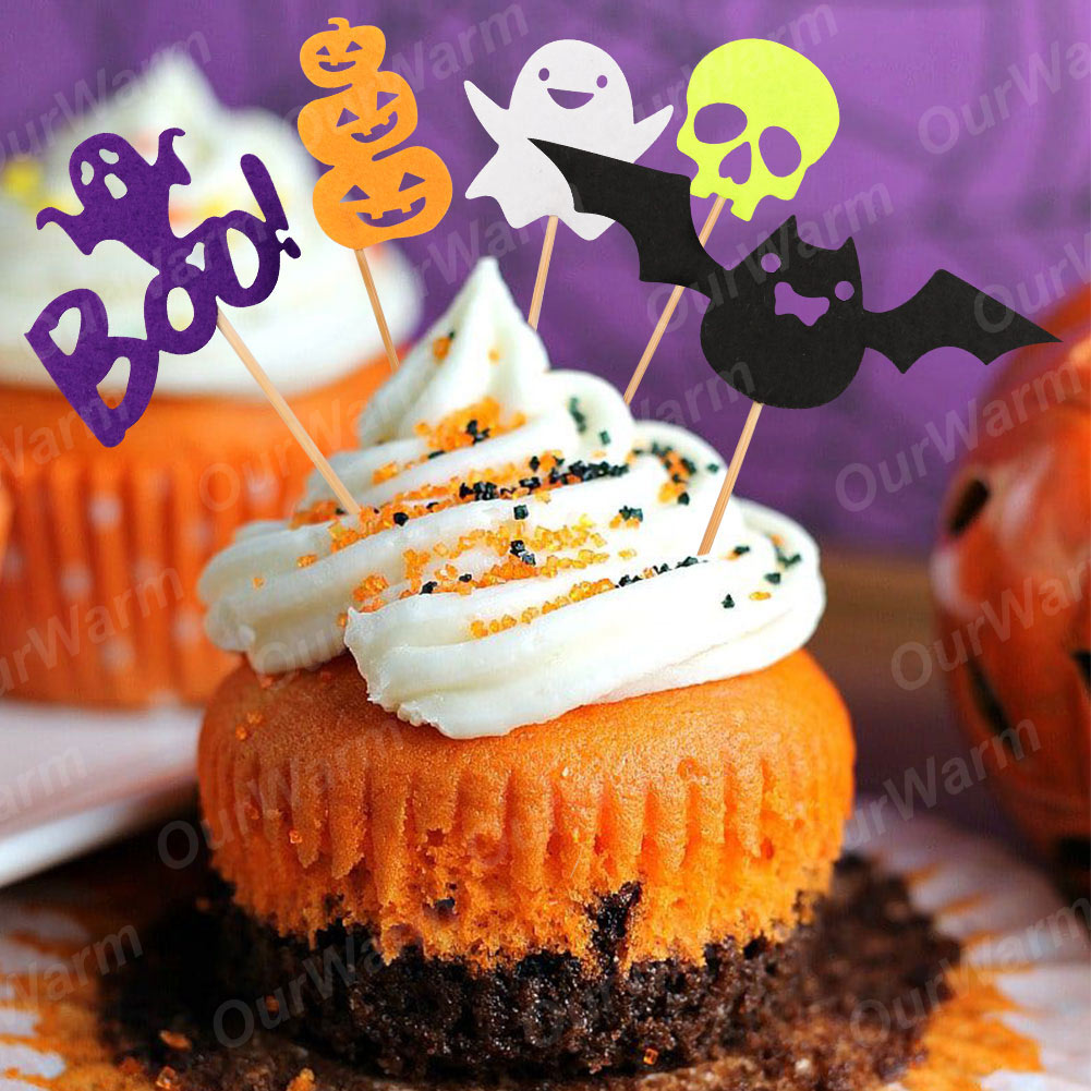 Ourwarm 5pcs Cupcake Toppers Cute Felt Pumpkin Bat Ghost Skull
