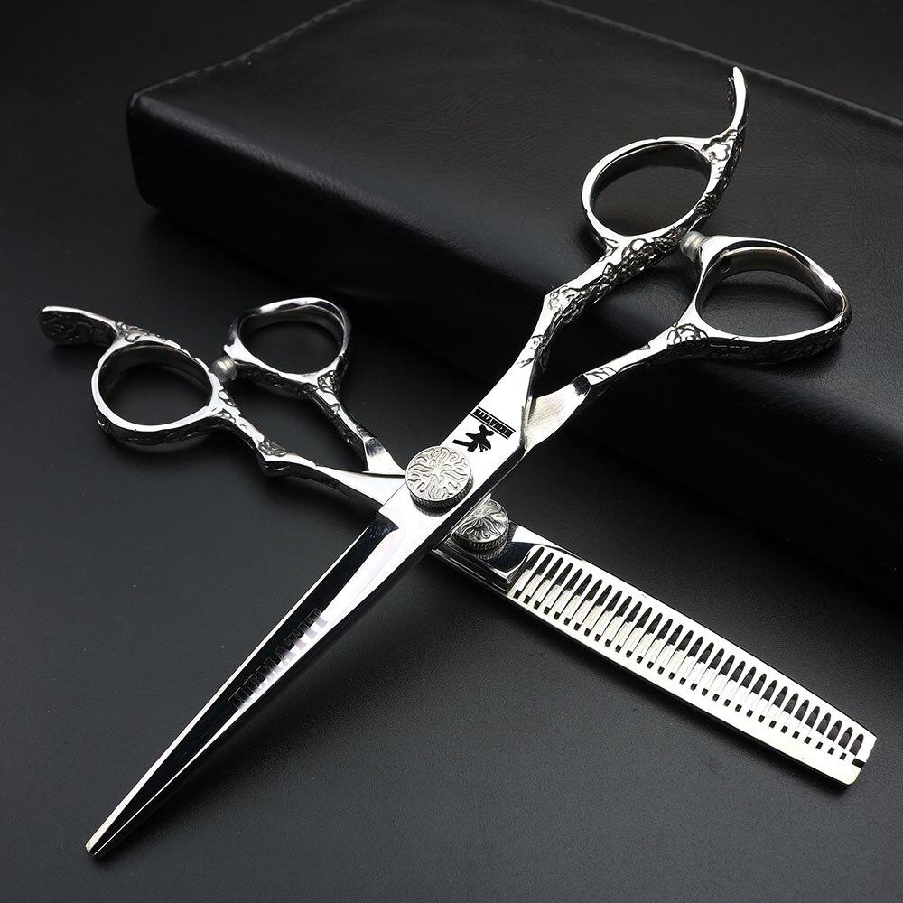Japan 440c steel 6 inch plum handle cutting hair scissors hairdressing cut makeup scissors hairdressing scissors