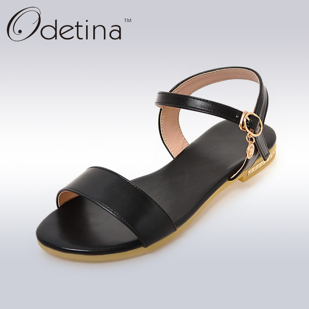 Odetina 2017 Fashion Ladies Flat Sandals Summer Shoes Women Sandal Ankle Strap Metal Decoration Gold Silver Slingback Sandals new fashion silver tone chain trim flat sandals flat heel black white metal leather ankle sandals for women free shipping