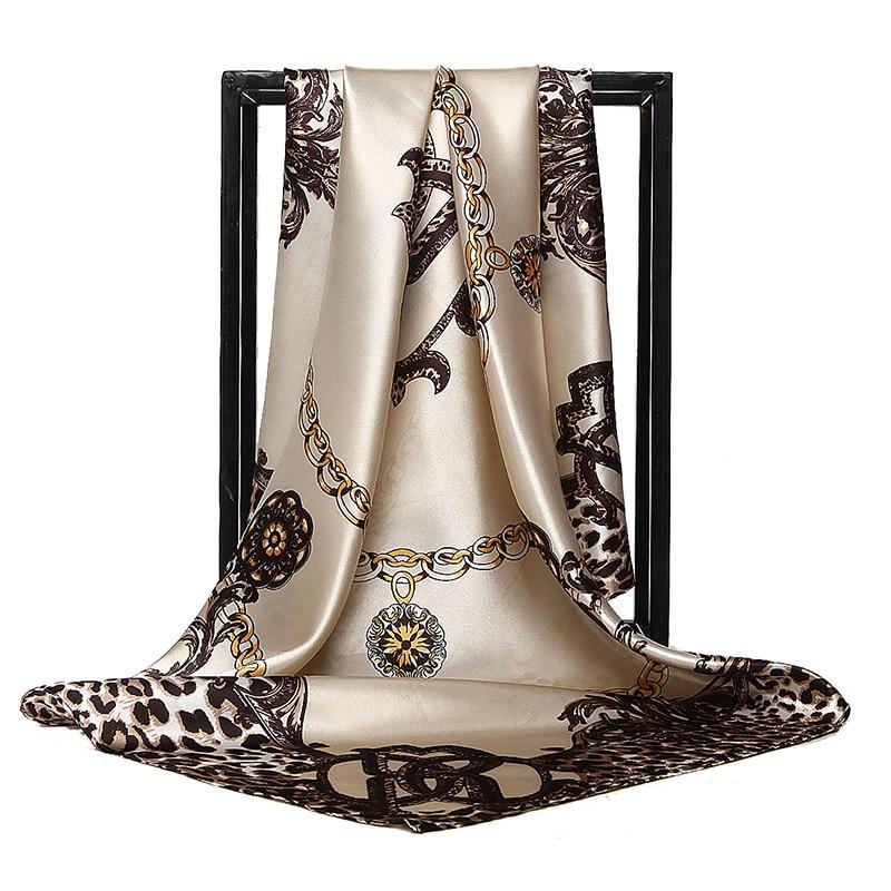 Retro Ladies Silk   Scarf   Bandana Fashion Women Printed Hijab   Scarf   Leopard Chain Pattern Large Square   Scarves     Wrap