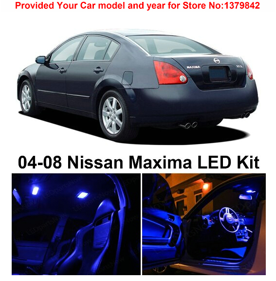 Free Shipping 9pcs Lot Car Styling Premium Package Kit Led Interior Lights For Nissan Maxima 2004 2008