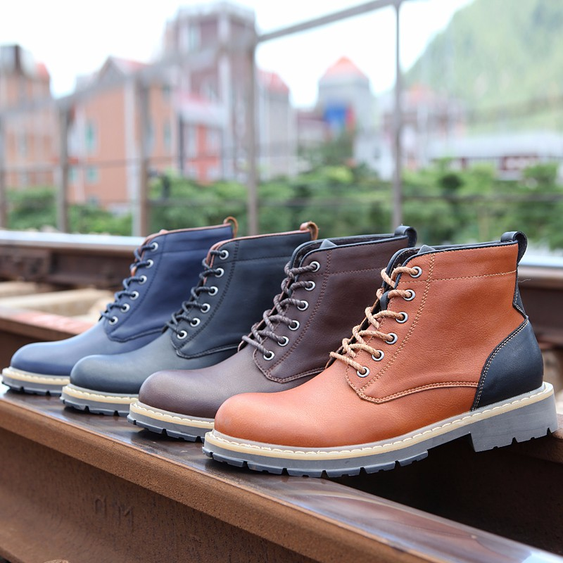 2016 Fashion Genuine Leather Boots Mens Shoes Casual Lace Up Flat Heel Motorcycle Boots Round Toe Men Ankle Boots Size 38-44 H72 (11)