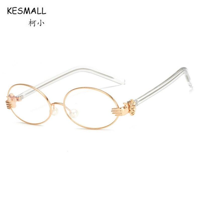 4ee787b6f55 KESMALL Fashion Computer Glasses Frame Clear Lens Eyewear Man Woman Gold  Color Optical Eyeglasses Frames Gafas Redondas XN375-in Eyewear Frames from  Women s ...