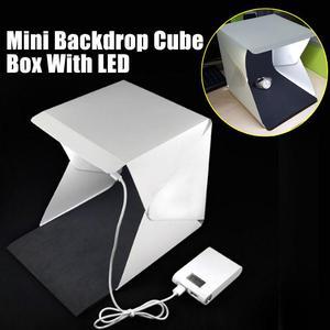 Image 1 - Mini Tragbare Falten leuchtkasten Fotografie Foto Studio Softbox Beleuchtung Kit Licht box für iPhone Samsang Digitale DSLR Kamera