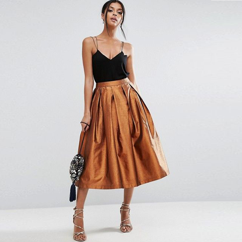 2017 New Graceful Satin Skirt High Quality Mid Calf Pleated Women Skirt Fashion Office Ladies Skirt Custom Made Any color Free image