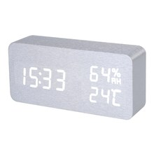 Silver White Voice Humidity Digital Clock Wooden Electronic Desk Table Clock LED Display Alarm Clock reloj despertador