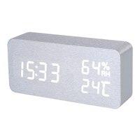 Zilver Wit Voice Vochtigheid Digitale Klok Houten Elektronische Bureau Tafel Klok LED Display Wekker klok despertador