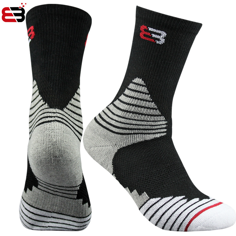 Super Elite Mens Cotton Crew Basketball Sock Best Black Workout Sports Socks Sport Hiking Running Long Run Performance Cushioned