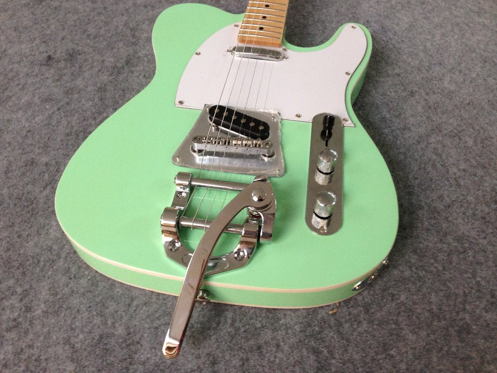 Free Shipping Cost Customized TeLea Special  Electric Guitar With Bigsby Bridge Green Color