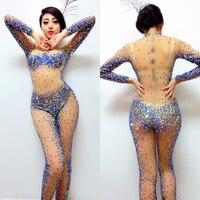 Женская пикантная, прозрачная блестящими стразами комбинезон DJ DS костюм для певцов в ночном клубе сценический наряд с украшением в виде кри