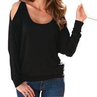 Cold Shoulder T Shirt Women Long Sleeve T Shirt Loose Tees Causal Tops Female Autumn Blusas