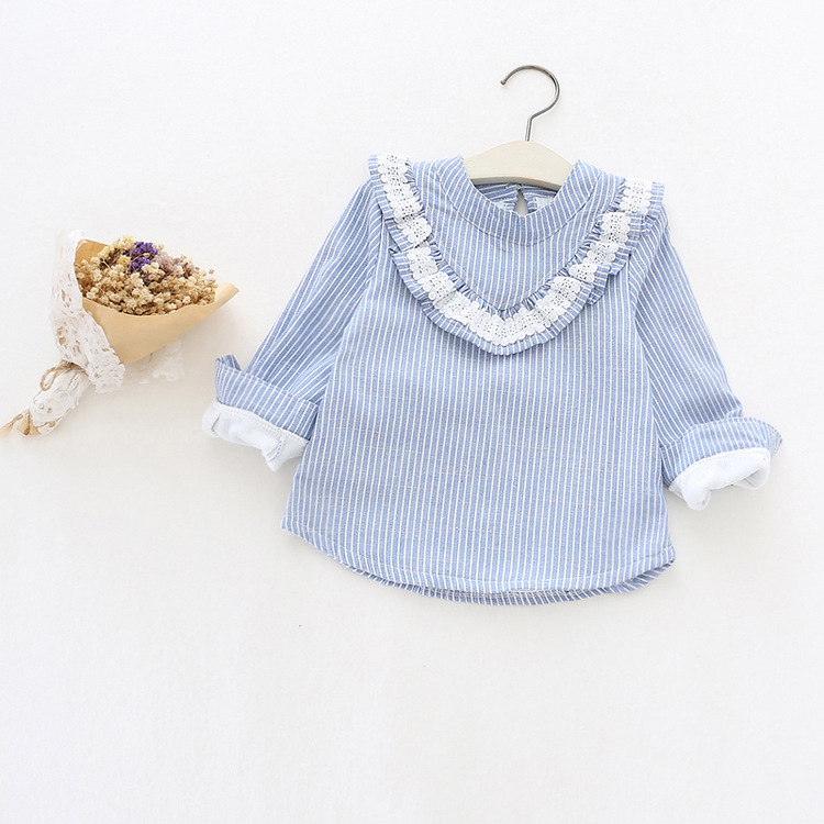Children's Clothing 2017 New Girls Lace Ruffle Striped Long-Sleeve Fleece Bottoming shirt O-neck Top Kids Fashion Korean Blouses