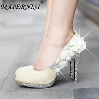 07a7b77a4c Wedding Shoes Glitter Gorgeous Bridal Evening Party Crystal High Heels  Women Shoes Sexy Woman Pumps Silver
