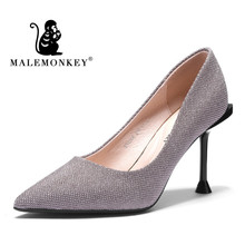 Pointed Soft High Heels Female 2019 New Wild With a Single Shoes Sequined Cloth