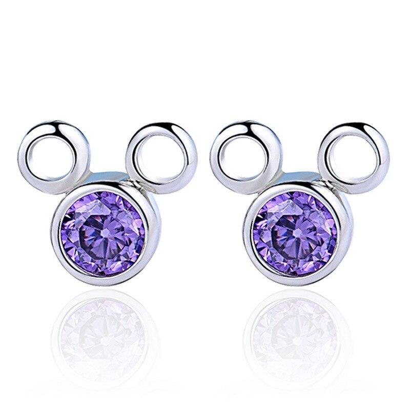 DAFU 2016 NEW Cute mouse white&purple zircon stud earrings female jewelry wholesale Wedding Gifts