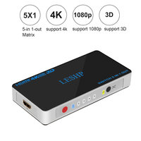 LESHP Switch 5 In 1 Out 5 Port HDMI Switcher Ultra HD 4Kx2K Support 3D for Playing Games Watching Movies Low Power Consumption
