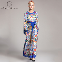 SEQINYY Runway Dresses 2018 Autumn Hot Sale Fashion Porcelain Printed Ankle Length Blue Belt Elegant Long Noble Vintage Dresses