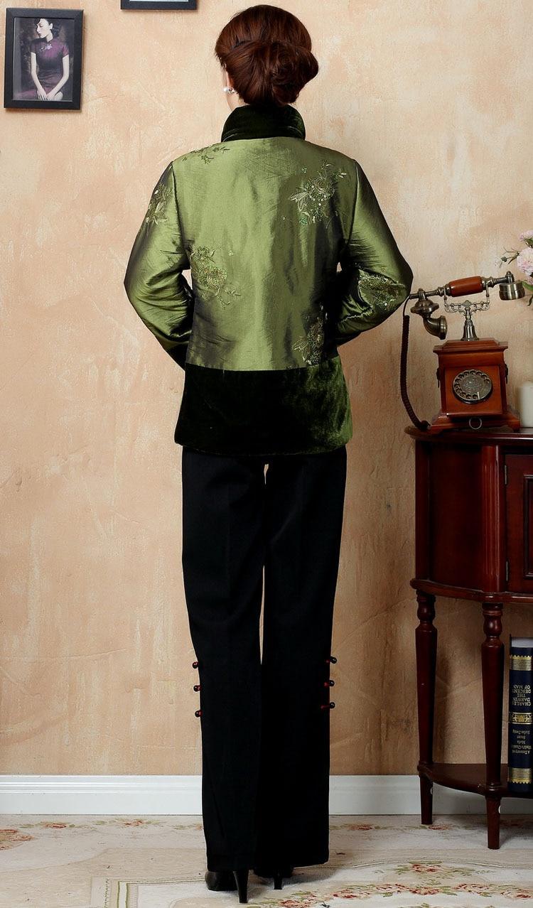 Ouatée Y05 Femmes Fourrure Xl 3xl Vert Avec Soie Satin 4xl Livraison pourpre Vert Chinois Broderie De Col Survêtement M En Veste L Gratuite D'hiver Xxl wqBznYvx
