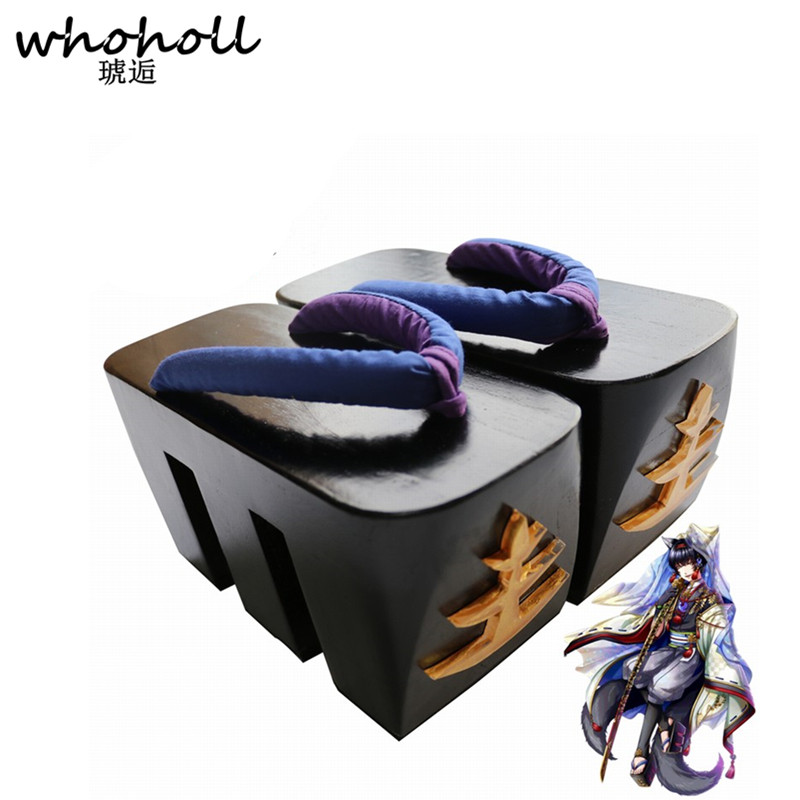 WHOHOLL Cosplay Geta Women Sandals Comiket Coser Design Shoes Japanese Geta Wooden Flip flops Thick Bottom