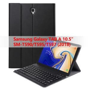 Image 1 - Съемный чехол для клавиатуры Samsung Galaxy Tab A 10,5 2018, Bluetooth, беспроводная клавиатура с функцией автоматического сна/пробуждения, для планшета Samsung Galaxy Tab A 10,5 2018, T595/T597