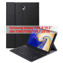 Voor Samsung Galaxy Tab EEN 10.5 2018 SM-T590/T595/T597 Tablet Afneembare Bluetooth Wireless Keyboard case met auto sleep/wake(China)