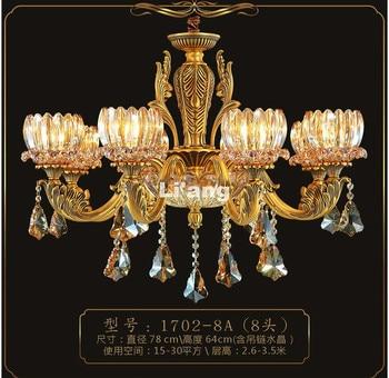 New Arrival European Brass Antique Crystal Chandelier In Promotion Lamp E14 LED AC Brass Crystal Lamp Lustre Suspension LightS conca x9048 diy european style chandelier crystal ceiling lamp holder w 6 x e14 connectors black