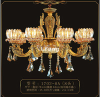 New Arrival European Brass Antique Crystal Chandelier In Promotion Lamp E14 LED AC Brass Crystal Lamp Lustre Suspension LightS