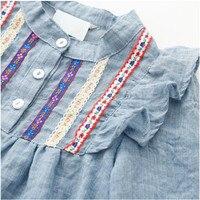 3 цвета детская одежда для девочек Блузка с длинными рукавами Вышитые рюшами свободные блузки для девочек Blusa для От 1 до 6 лет