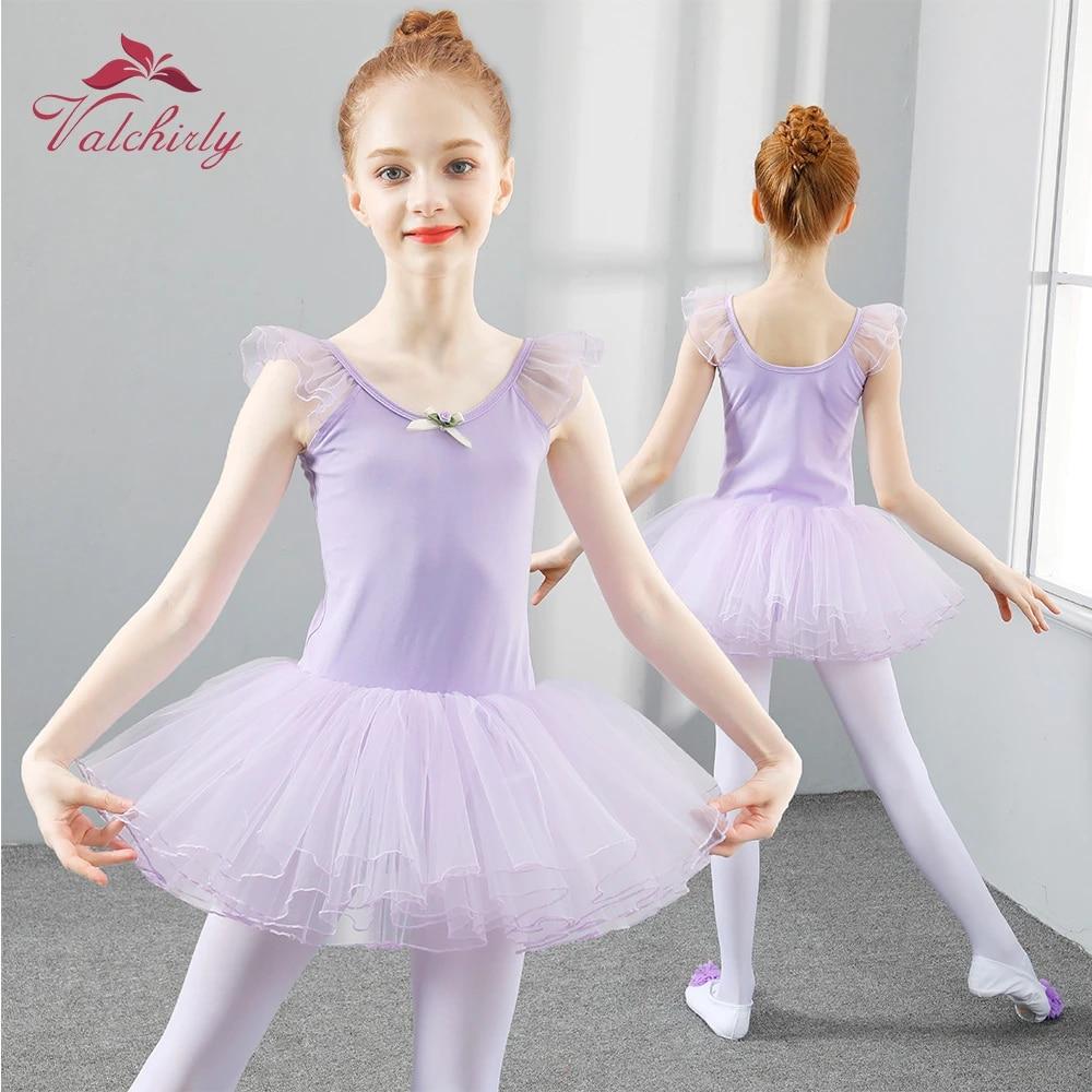 US Girls Gymnastics Dance Dress Toddler Kids Leotard Ballet Tutu Skirt Costume