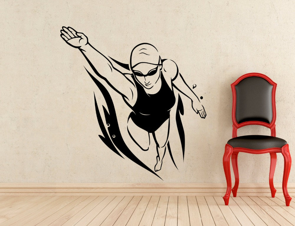 gym swimming wall stickers home decor living room removable vinyl 3d