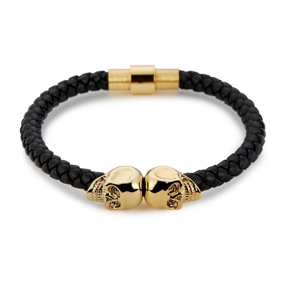Trendy North Skull Bracelet For Men Black Genuine Leather bracelet Punk man double skull leather Skeleton Bangles BCB-122