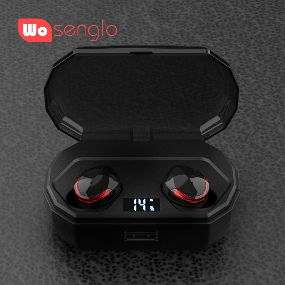 True Wireless Headphones Earbuds Bluetooth 5 0 Stereo Headphones with Mic 2000 mah Charging Box Power