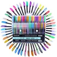 48 Colors Gel Pens Set Refills Rollerball Pastel Neon Glitter Sketch Drawing Color Pen Markers Marker