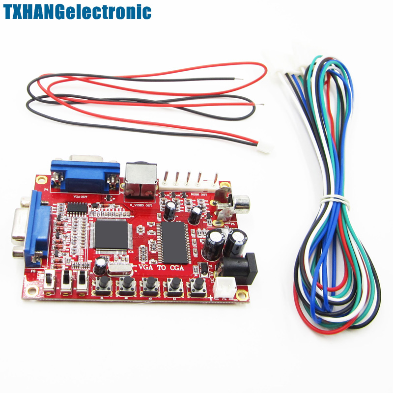 Durable VGA to RGBS/CGA/AV/S-Video Converter Board Arcade Game Multicode +WireDurable VGA to RGBS/CGA/AV/S-Video Converter Board Arcade Game Multicode +Wire