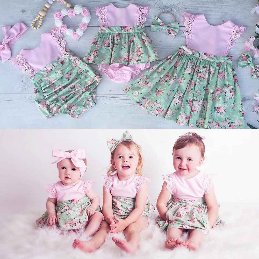 dc44c6afe ... Super Cute 3 Styles Baby girl Floral Pink Bodysuits with Skirt Babies  Girl Halter Flower Summer ...
