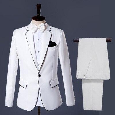 (jas + Broek) Herenpakken Bruidegom Smoking Jurk Wit Bruiloft Gentleman Slanke Pak Aangenaam In De Nasmaak