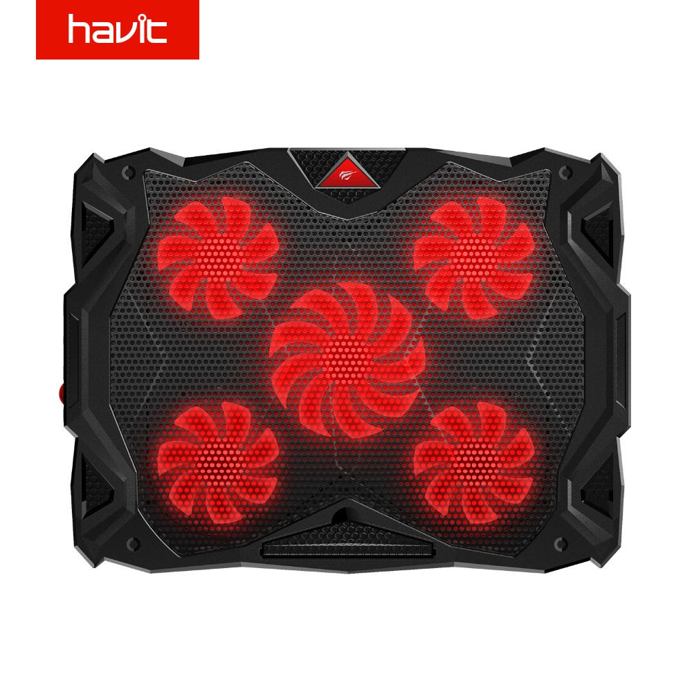 HAVIT Fan Cooling Quiet Laptop Cooling Pad LED USB Cooler Notebook with 5 Fans Noise-free Laptop Fan for Laptop 14-17 HV-F2068