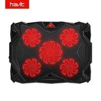 HAVIT Fan Cooling Quiet Laptop Cooling Pad LED USB Cooler Notebook with 5 Fans Noise free Laptop Fan for Laptop 14 17 HV F2068