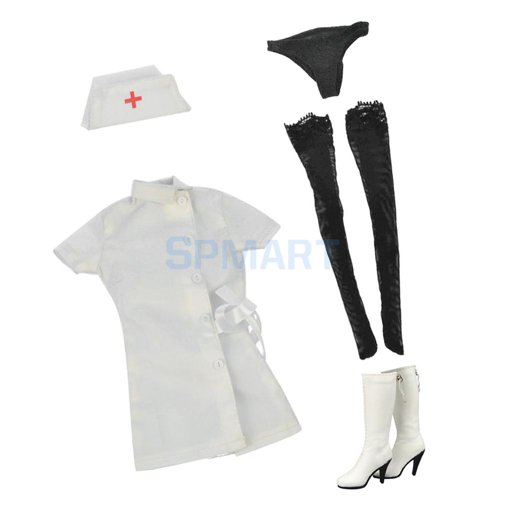 1/6 White Nurse Uniform Set + High Heel Boots for 12'' Female Action Figure Hot Toys Phicen Kumik Accessories цена